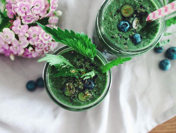 Go Wild! Go Green! Feiner grüner Smoothie mit Brennnesseln, Heidelbeeren und Mango.
