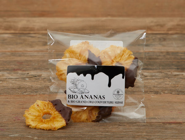 Image of Bio Ananas getrocknet mit dunkler Schoggi, 50g