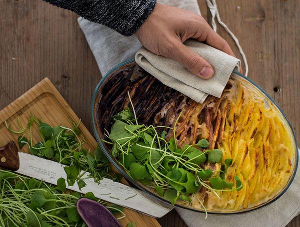 Herdöpfelgratin mit dreierlei Kartoffeln