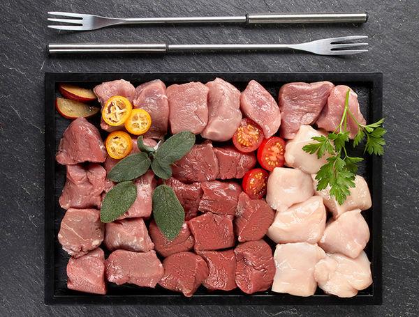 Image of Bio Fondue Bourguignonne Set mit Rind-, Lamm-, Enten- & Schweinefleisch, ca. 550g
