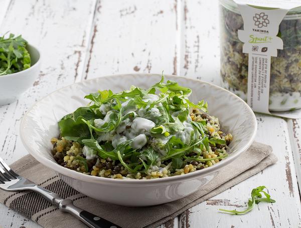 Bio bunter Basmati-Reissalat nach indischer Art mit Weizengras, 300g von TAKINOA bei Farmy.ch online einkaufen