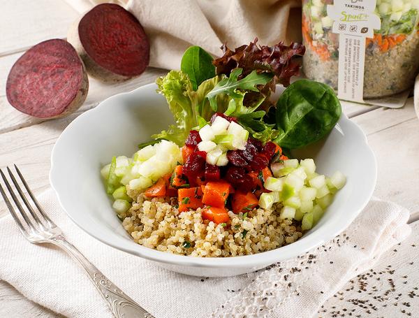 Quinoa Salat mit Chia Samen, Karotten und Äpfel, 300g von Takinoa bei Farmy.ch online einkaufen.