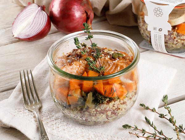 Gourmetglas Bio Lachs, karamellisierte Zwiebel von Takinoa bei Farmy.ch online kaufen