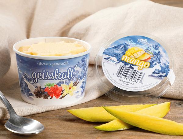 Ziegenmilch Glacé Mango, 135ml von Blüemlisberg bei Farmy.ch online einkaufen.