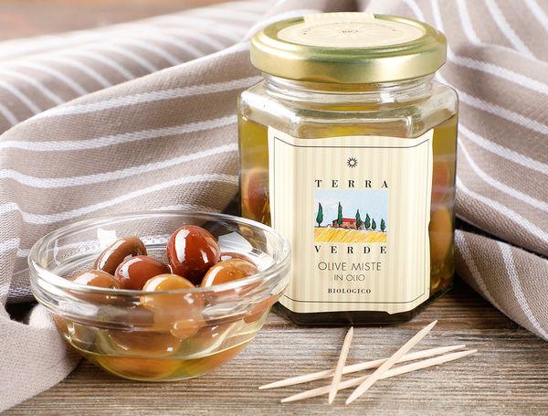 Image of Gemischte Bio Oliven in Öl, 170g