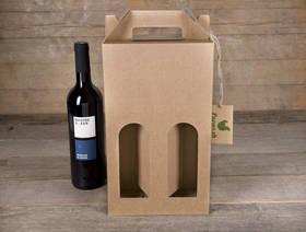 Weinkarton für 2 Flaschen, leer