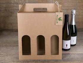 Weinkarton für 3 Flaschen, leer