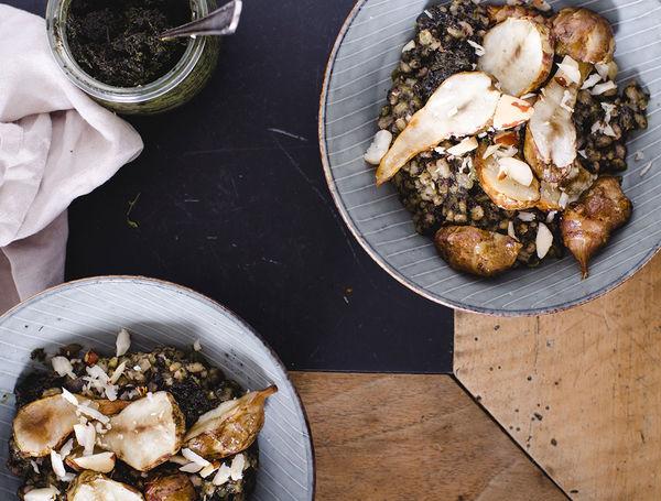 Ofen-Topinambur mit Federkohl Pesto