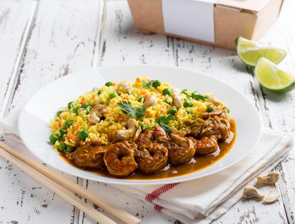Tandoori Garnelen an Yellow Curry Sauce mit Gemüsereis, ca. 500g von Zentrum Metzg bei Farmy.ch online einkaufen.